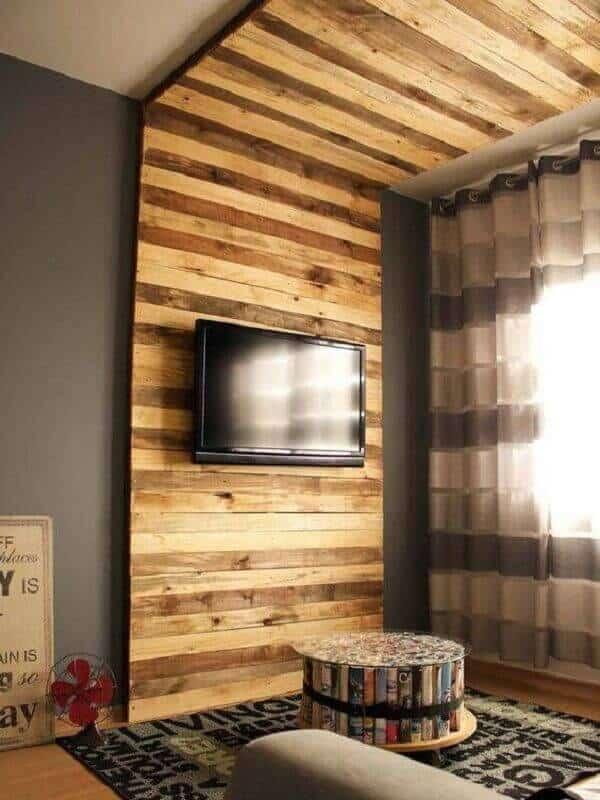parede de pallet moderna para por TV