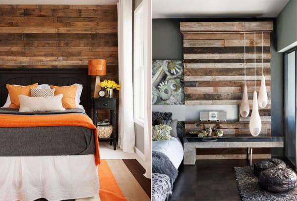 Duas opções de parede de pallet no quarto