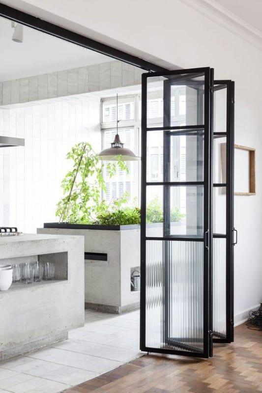 Porta para cozinha camarão de vidro