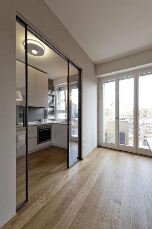 Porta de vidro interna para cozinha