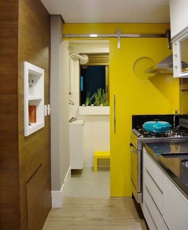 Porta de correr para separar a cozinha da lavanderia em apartamento