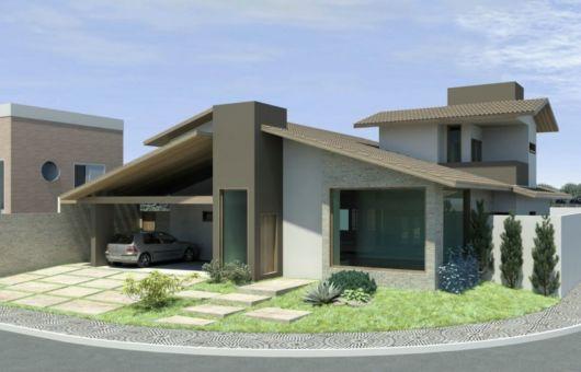 casa térrea com telhado aparente