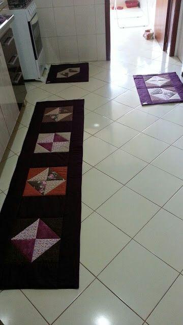 conjunto de tapetes de retalhos