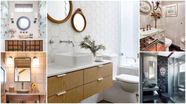 modelos de papel de parede para banheiro