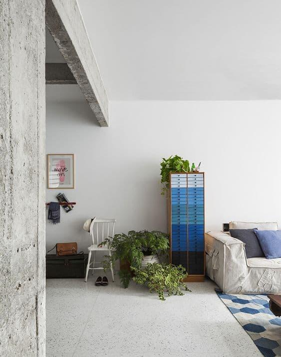 sala com piso de granilite
