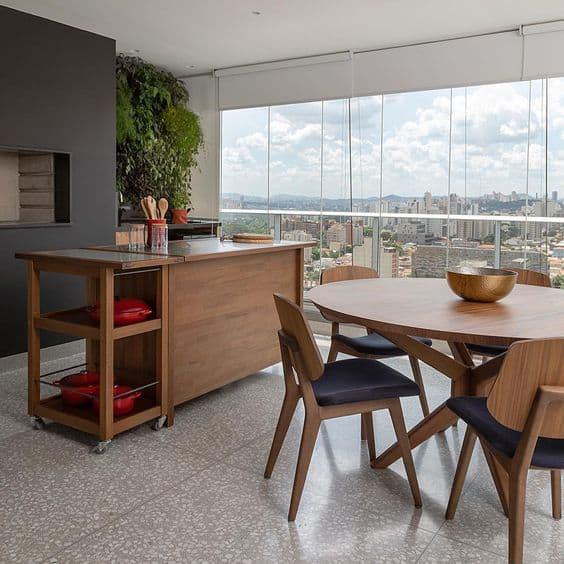varanda gourmet com piso de marmorite