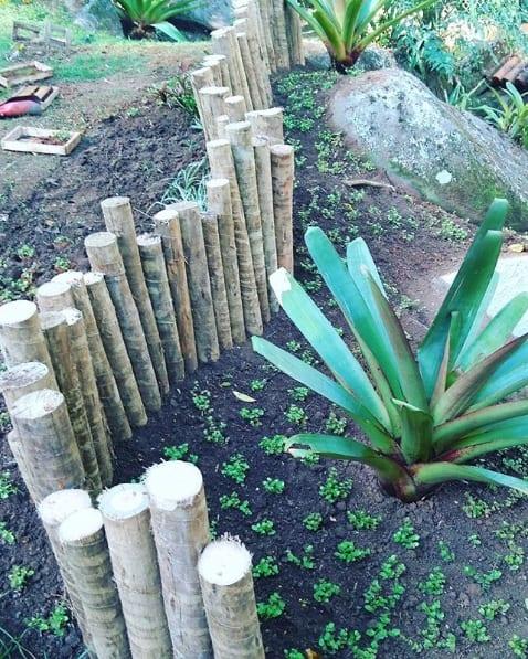jardim com cerca de toras de madeira