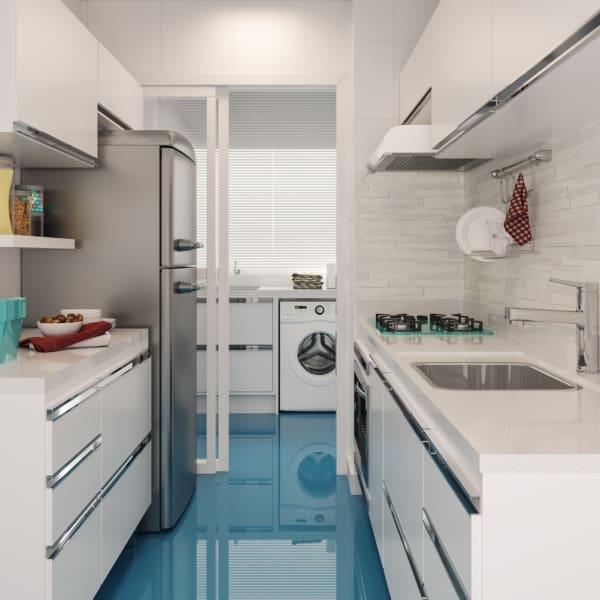 cozinha com pia branca