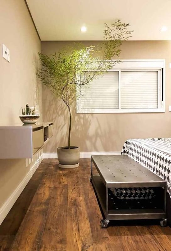 quarto decorado com bambu mossô