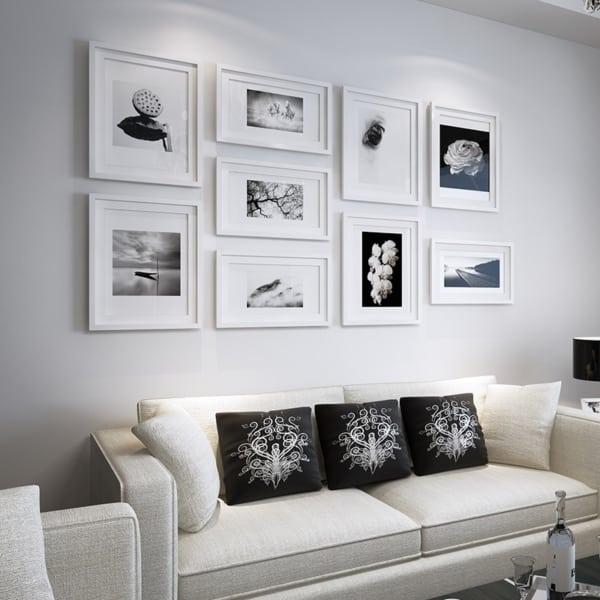 sala com decoração em preto e branco