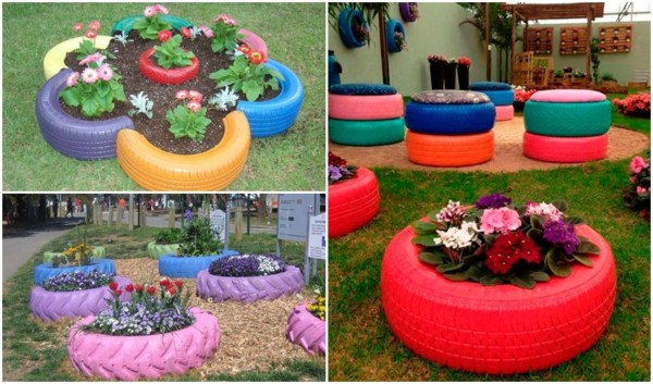 jardim decorado com pneus