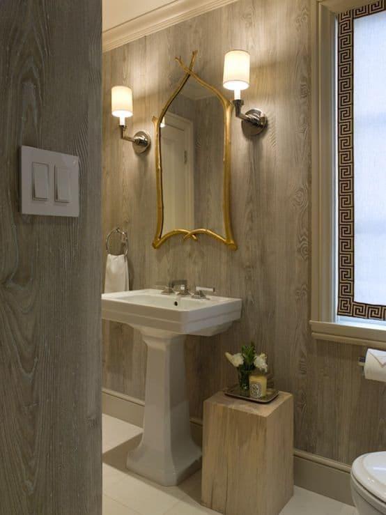revestimento que imita madeira no banheiro