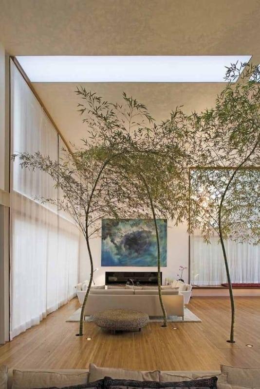 decoração sala grande com bambu