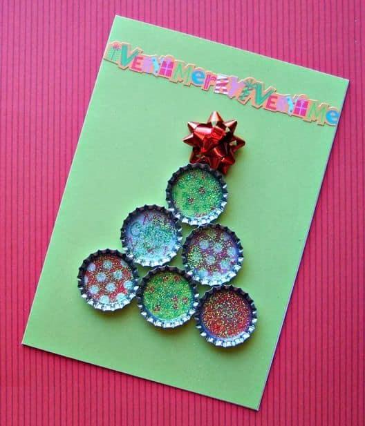 cartão de natal com reciclagem