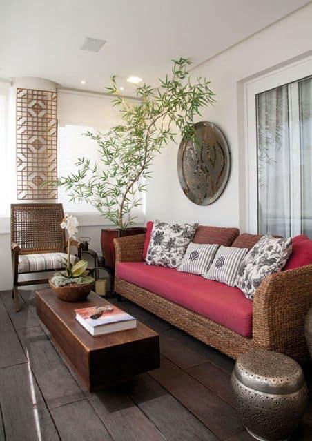 terraço decorado com bambu