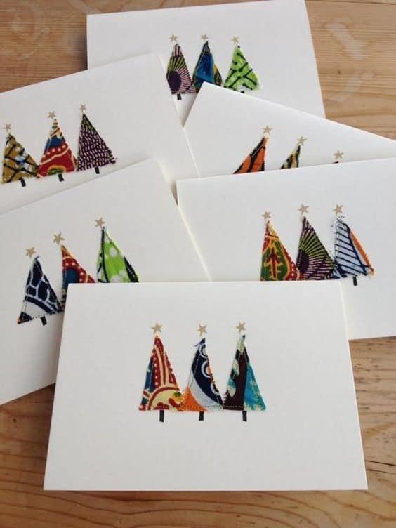 cartão decorado com retalhos de tecido