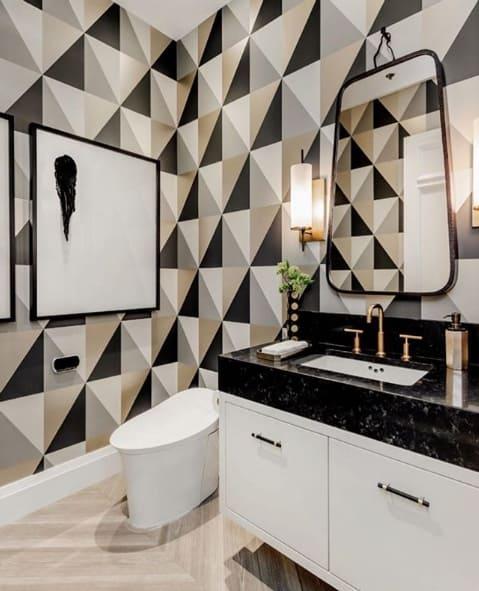 papel de parede com estampa geométrica