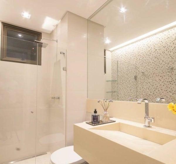 banheiro clean com pia esculpida
