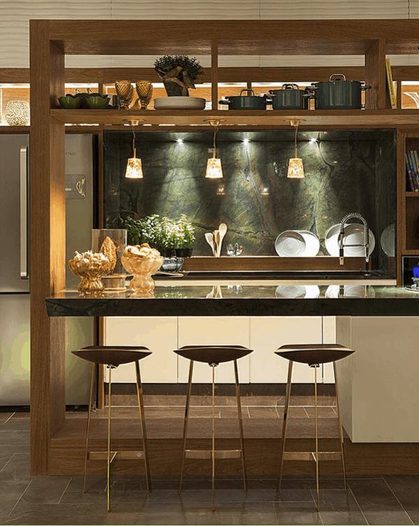 cozinha com parede verde vitória régia