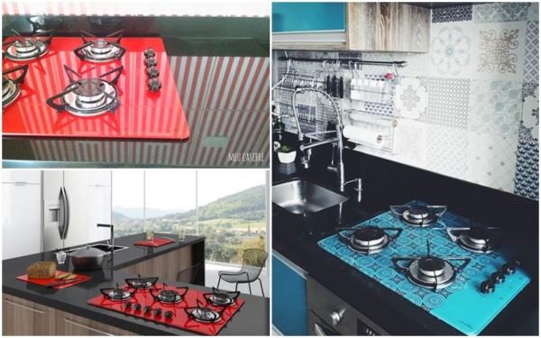 cooktop colorido na decoração
