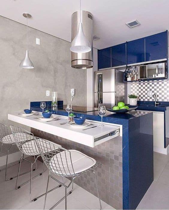cozinha americana com cooktop de indução