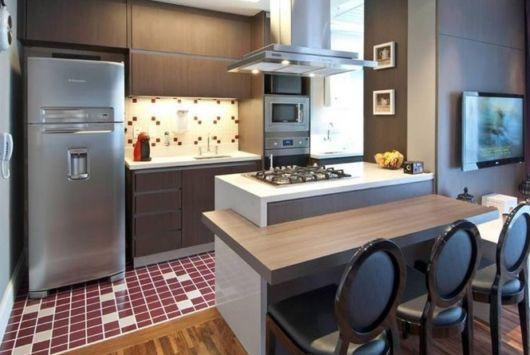 cozinha americana com fogão de bancada