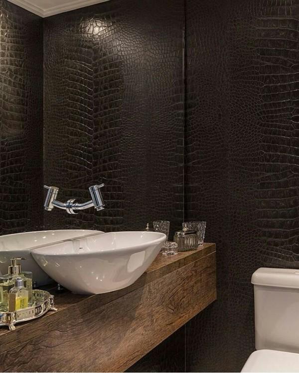 papel de parede para banheiro preto