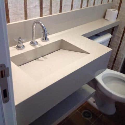 lavabo pequeno com cuba esculpida