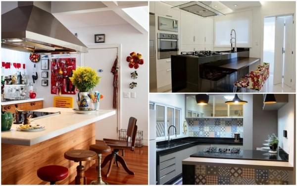 decoração de cozinha americana com cooktop