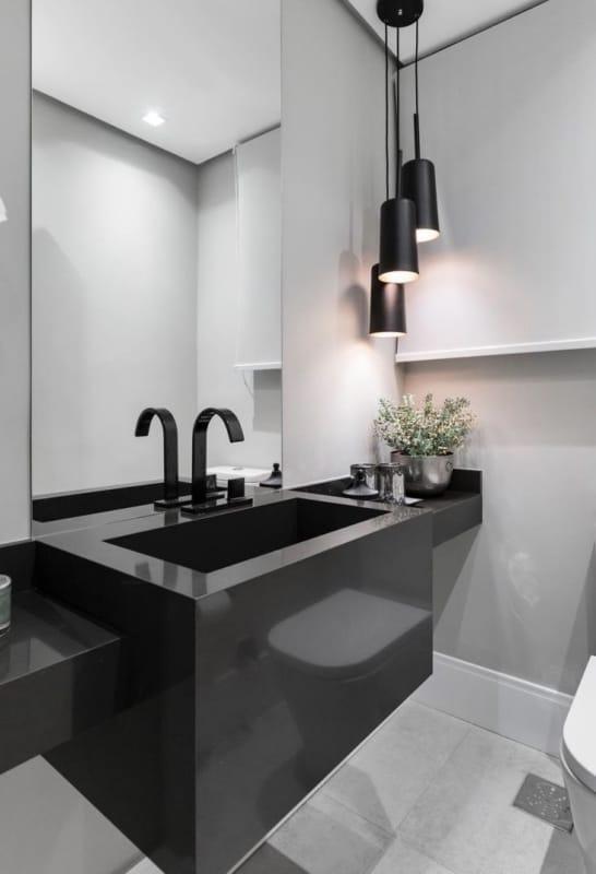 lavabo moderno com pia preta