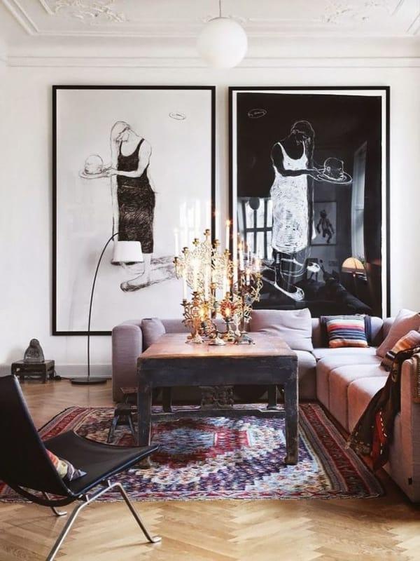 quadro grande em preto e branco