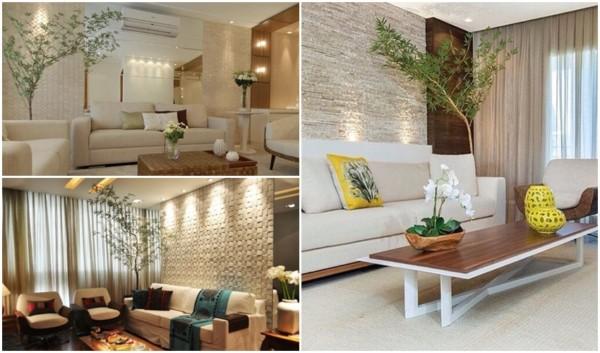 sala decorada com bambu mossô