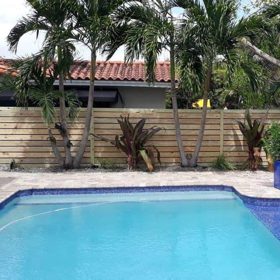 piscina com muro de madeira