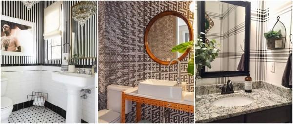 modelos de papel de parede para banheiro preto e branco