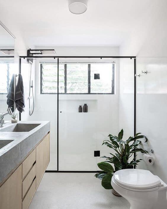 banheiro pequeno com piso de granilite