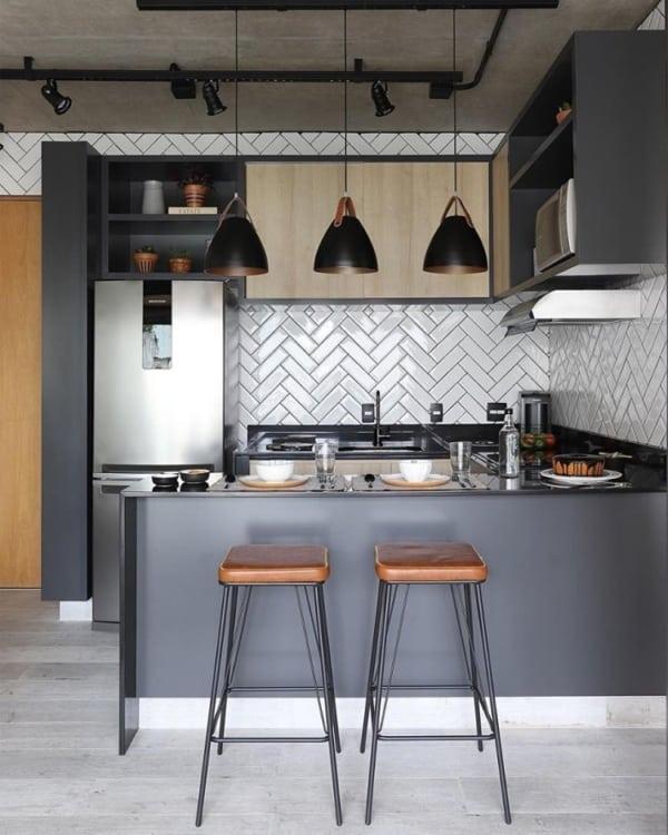 cozinha com decoração industrial