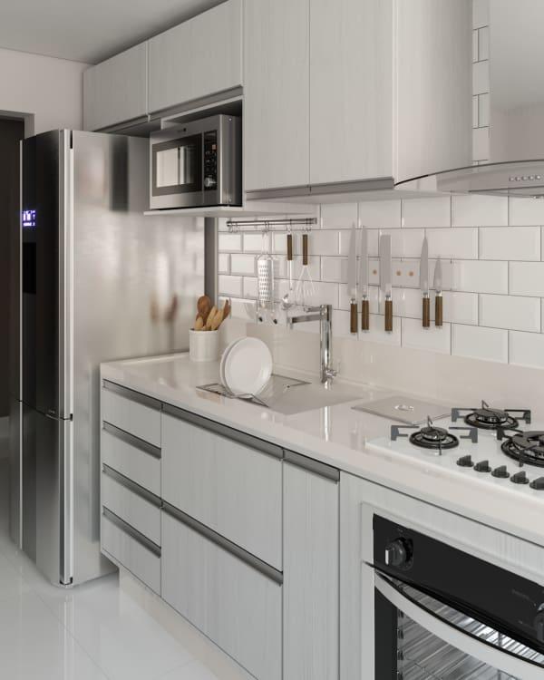 cozinha pequena com pia branca