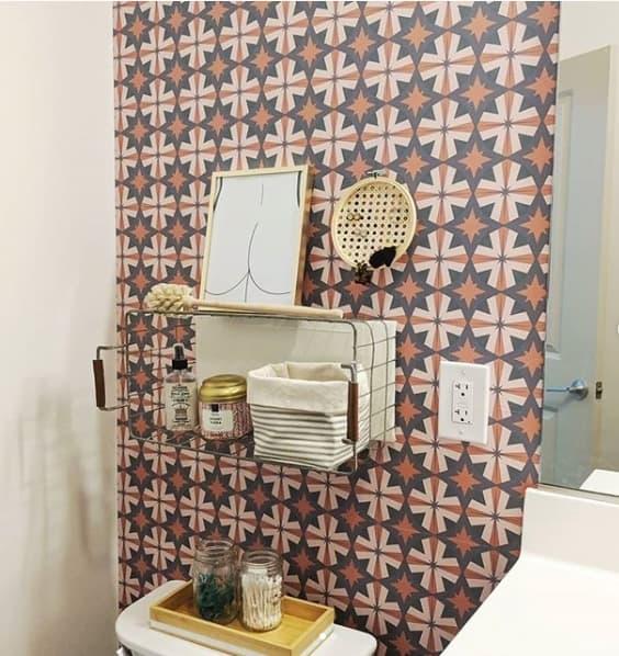 papel de parede para banheiro estampado