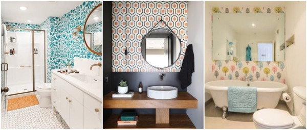 modelos de papel de parede para banheiro colorido