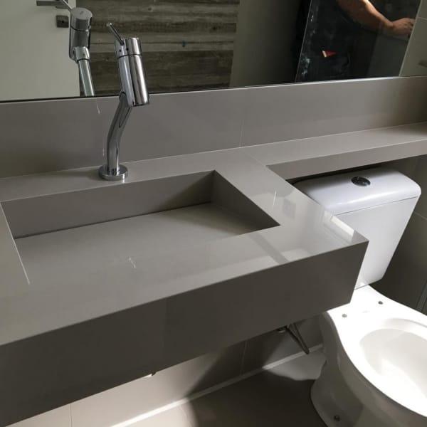 pia cinza para banheiro pequeno