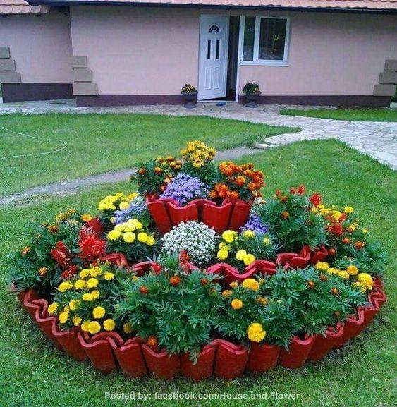 decoração jardim com telhas