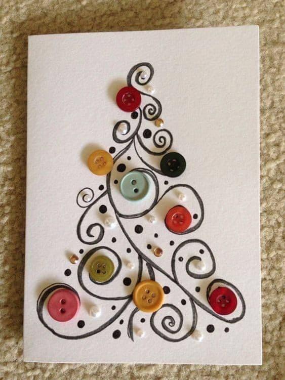 cartão feito à mão e decorado com botões