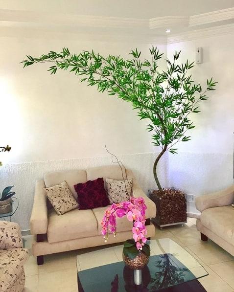 plantas e flores artificiais na decoração