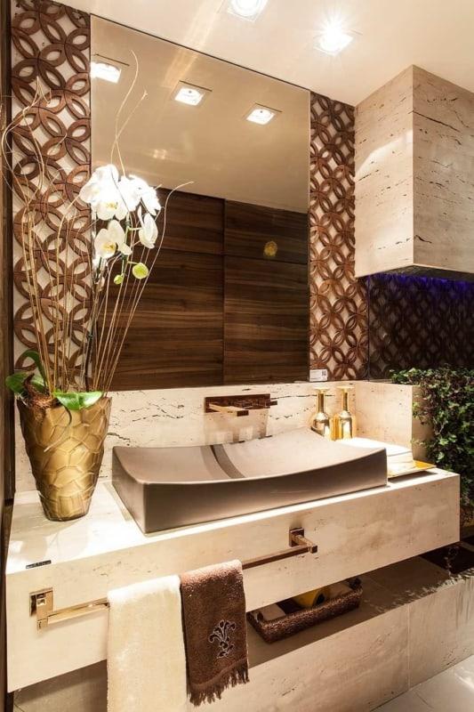 Banheiro com mámore travertino navona 1