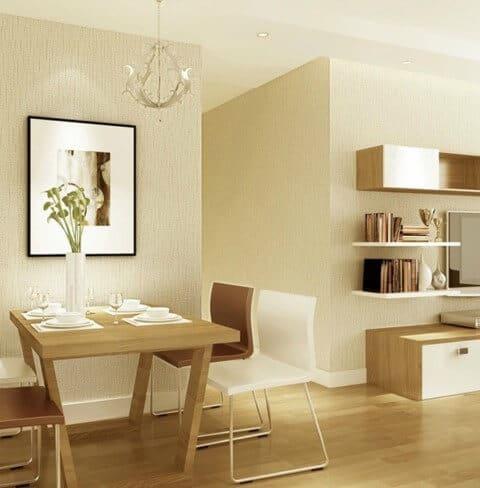 Cor pérola na sala de jantar com sala de estar