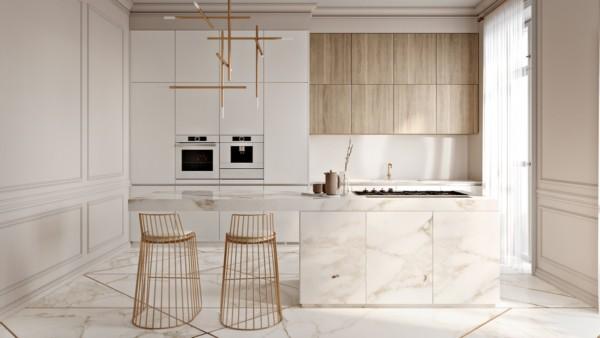 Cozinha minimalista com cor pérola