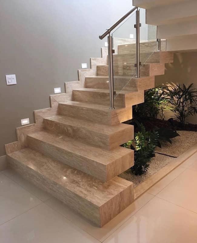 Escada de marmore travertino cascata