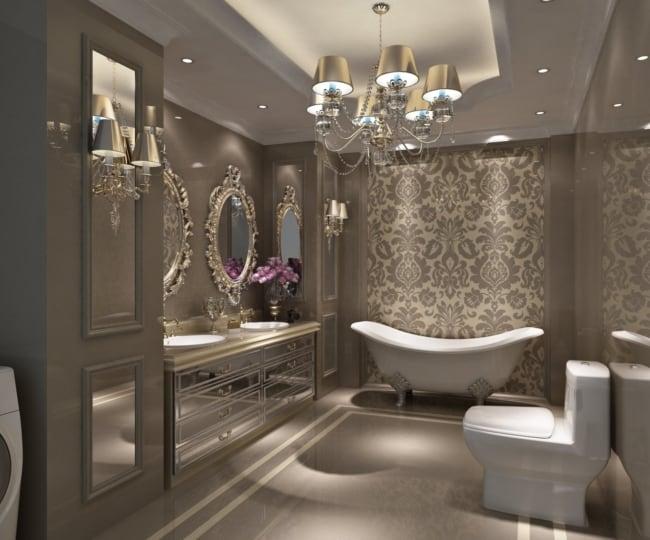 Lustre candelabro com cupulas para banheiro clássico luxuoso