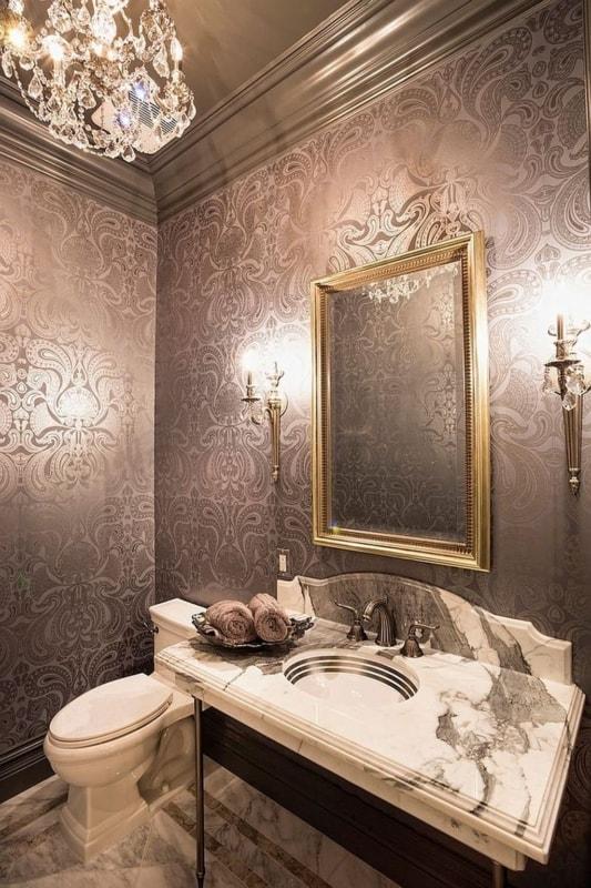 Lustre de cristal para lavabo marrom chic
