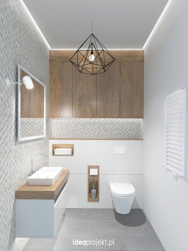Lustre geométrico para lavabo branco e amadeirado